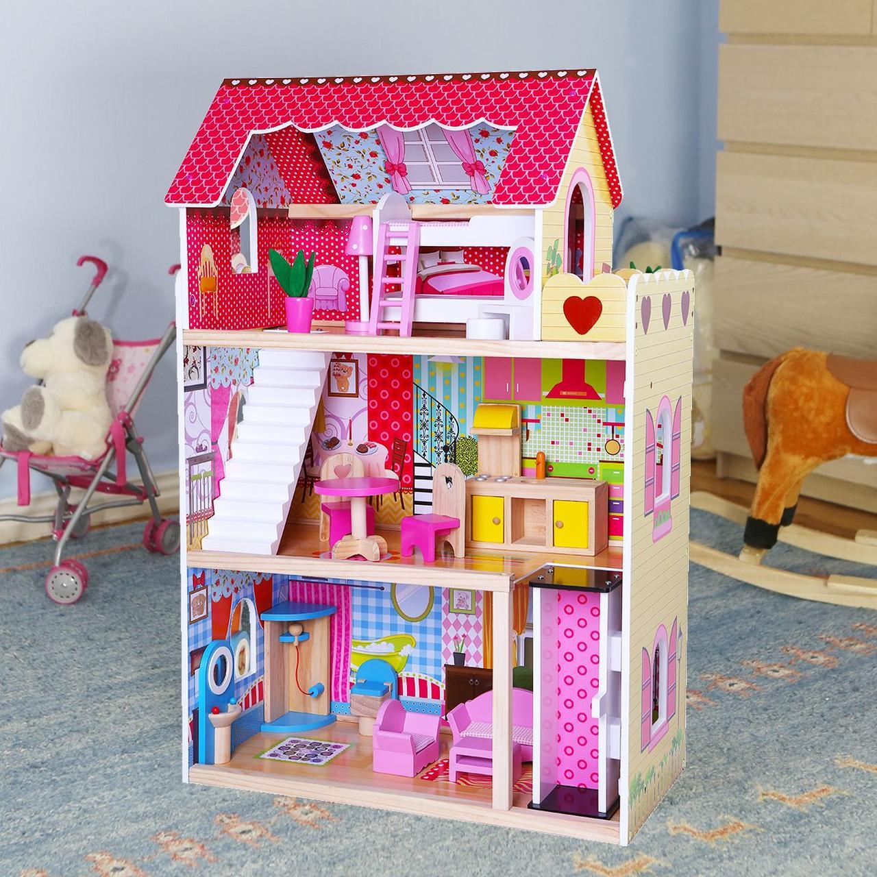 """Деревянный кукольный домик для Барби EcoToys """"Малиновая резиденция"""" с лифтом"""
