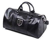 Дорожная сумка саквояж реплика Philipp Plein эко-кожа черная 10151, фото 1