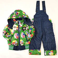 Детский демисезонный комбинезон куртка и штаны для мальчика зелёный 1-2 года