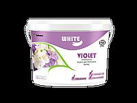 Интерьерная влагостойкая краска Эконом класса моющаяся по бетону, кирпичу, дереву White Violet 1 л