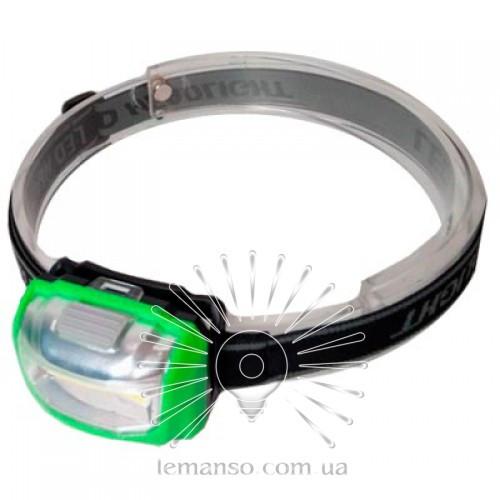 Фонарик LEMANSO COB на голову зелёный / LMF46 пластик