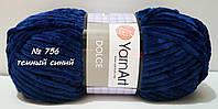 Велюровая (плюшевая) пряжа для вязания  DOLCE YarnArt № 756 - темный синий
