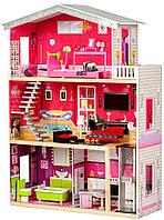 """Деревянный кукольный домик для Барби """"Малибу"""" EcoToys с лифтом"""