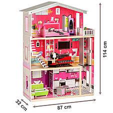 """Деревянный кукольный домик для Барби """"Малибу"""" EcoToys с лифтом, фото 3"""