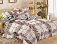 Комплект постельного белья сатин двуспальный Клетка на белом