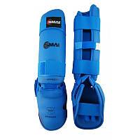 Защита голени и стопы Smai WKF Approved синяя, фото 1