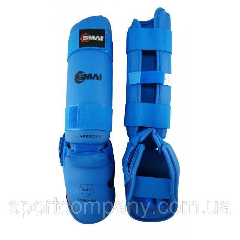 Защита голени и стопы Smai WKF Approved синяя