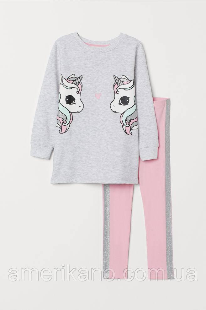 Комплект лосины и туника хлопковые H&M для девочек 2-4 года