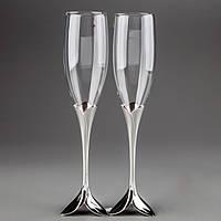 Свадебные бокалы для шампанского на мельхиоровых ножках