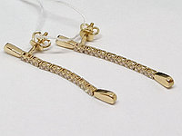 Золотые серьги-пуссеты с фианитами. Артикул 211341, фото 1