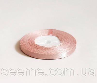 Лента атласная, 6 мм, цвет пыльный розовый