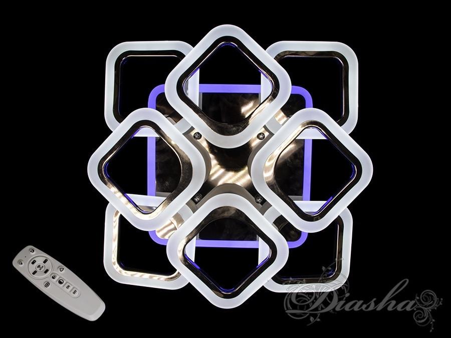 Потолочная люстра с диммером и LED подсветкой, цвет чёрный хром AS8060/4+4BHR LED 3color dimmer