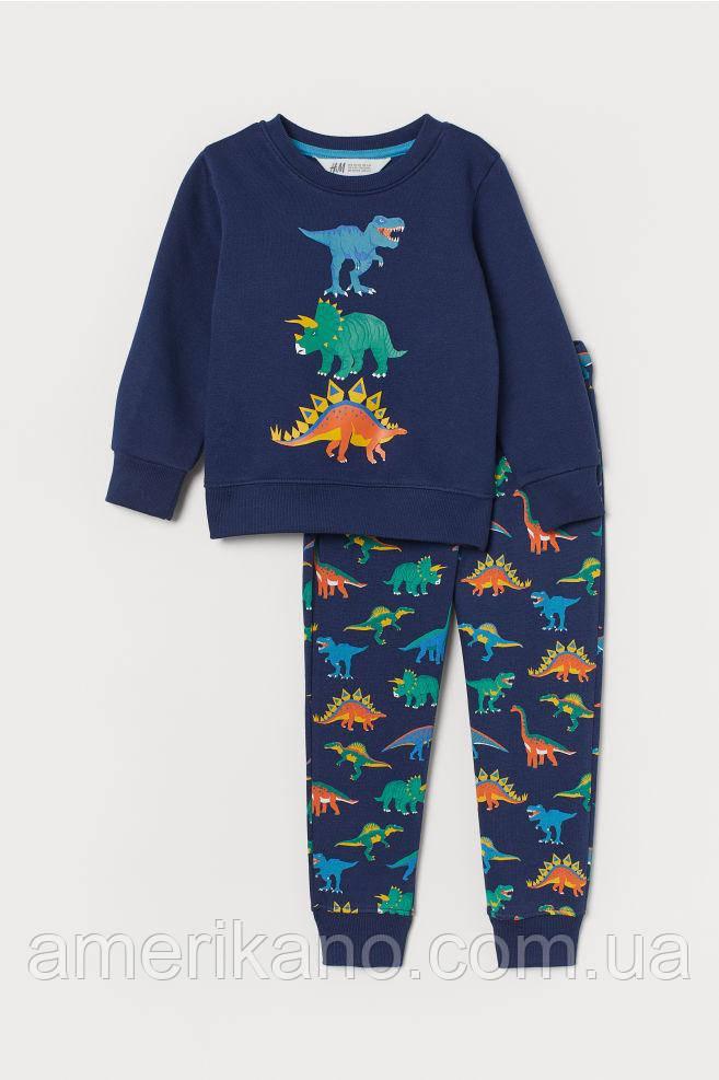 Спортивный костюм (свитшот и джоггеры) с принтом H&M на мальчика 2-4 года Синий/ динозавры