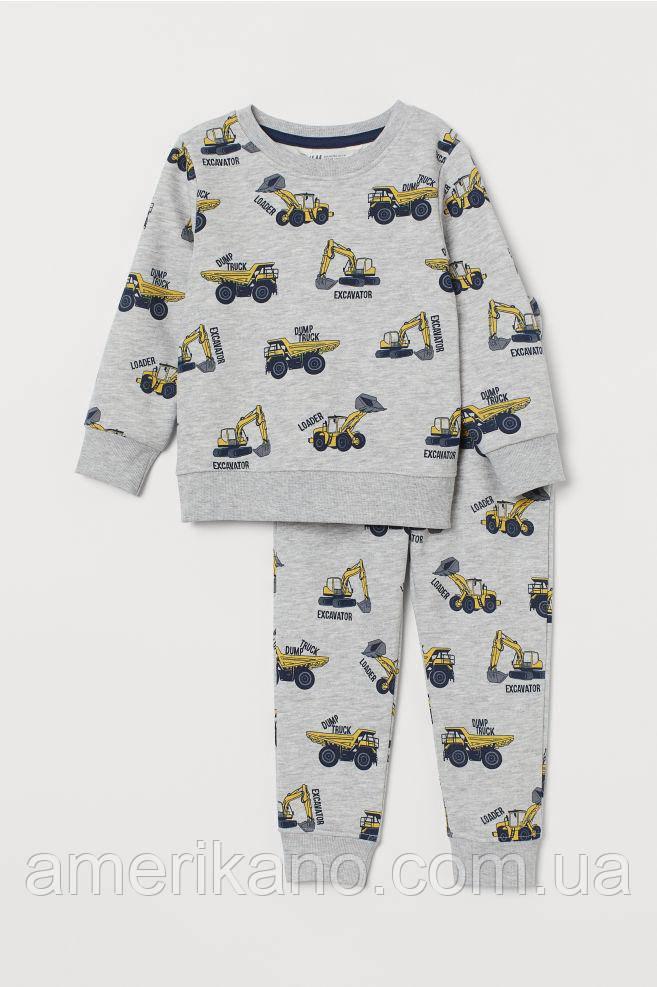 Спортивный костюм (свитшот и джоггеры) с принтом H&M на мальчика 4-6 лет Серый. Экскаваторы.
