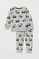 Спортивный костюм (свитшот и джоггеры) с принтом H&M на мальчика 4-6 лет Серый. Экскаваторы., фото 1