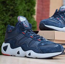 Зимние мужские кроссовки Adidas Equipment FYW S-97 синие. Живое фото. Реплика