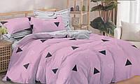 Комплект постельного белья сатин евро Треугольники на розовом