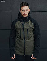 Мужская спортивная куртка с капюшоном Staff softshell black and haki