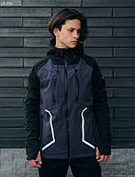 Мужская спортивная куртка с капюшоном Staff softshell grafit and black