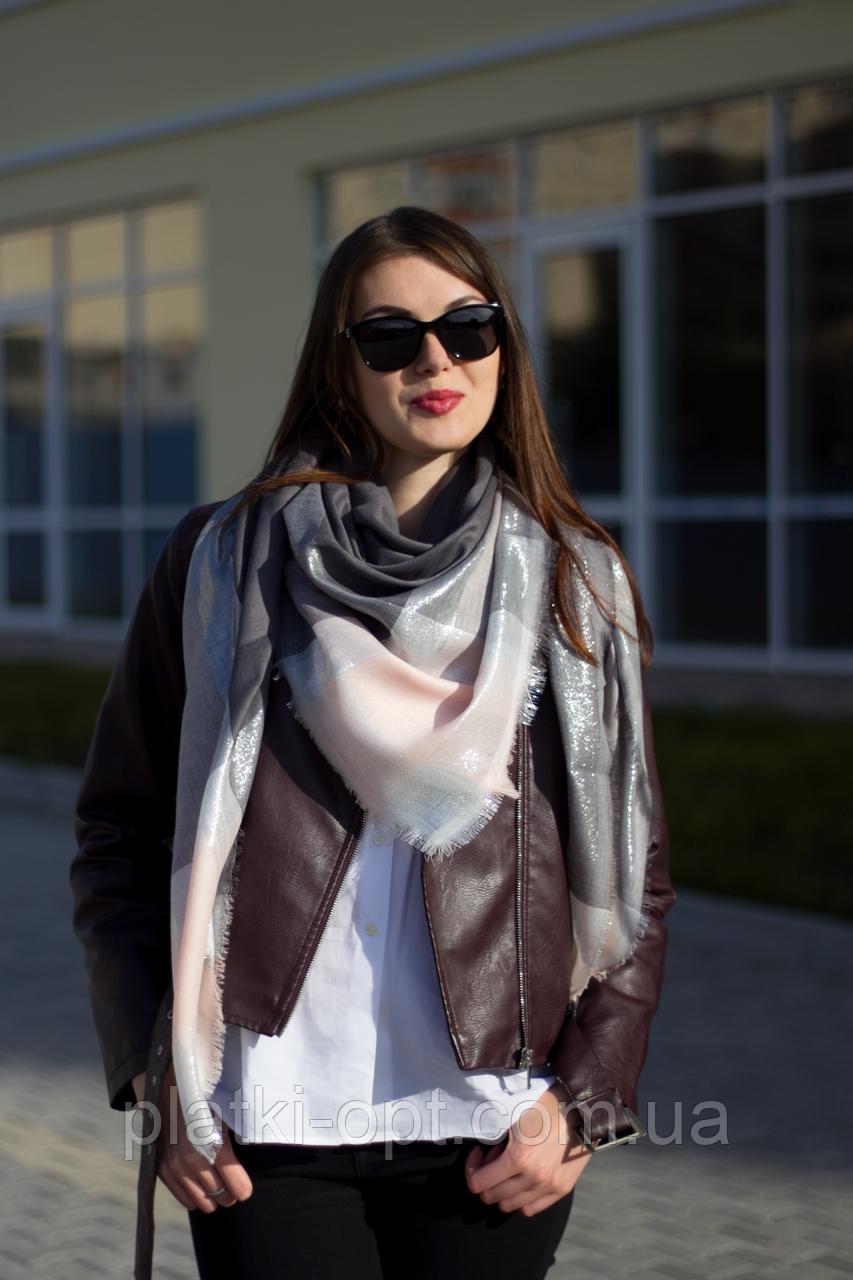 Женский платок Маре (серый+пудра)