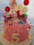 Топпери ЛОЛ, прикраси для торта LOL на дерев'яній основі ( 9 видів ), топери LOL на торт, ляльки ЛОЛ топпери, фото 3