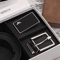 Ремінь чорний з двома пряжками в подарунковому наборі стильний чоловічий шкіряний Armani, фото 1