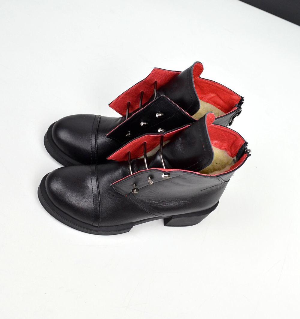 Женские ботинки в черном цвете, из натуральной кожи(под заказ 7-15 дней)