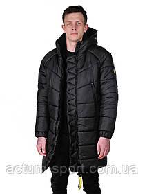 Куртка длинная мужская зимняя с капюшоном черная