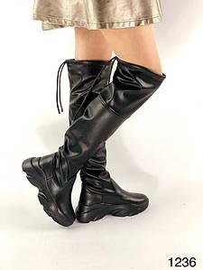 Чёрные женские кожаные ботфорты на платформе 36-40 р