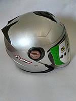Мото шлем открытый со встроенными солнцезащитными очками IBK светло-серый металлик  размер М(57-58)