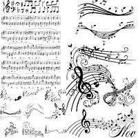 "Вафельная картинка на торт ""Музакальная тематика / музыка / музика"" (на листе А4)- Ноты, ваф.карт_Ноты. Формат А4 прямоугольная."