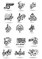 """Вафельна картинка на торт """"Музакальная тематика / музика / музика"""" (на аркуші А4)- Ноти-2, 15 елементів для кексів"""