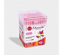 """Палочки ватные гигиенические """"Maneki"""", серия Lovely, с розовым бумажным стиком 150 шт (220944)."""