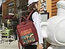 Рюкзак для девочки в японском стиле с аниме Хародзюку бардовый., фото 2