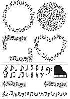 """Вафельна картинка на торт """"Музакальная тематика / музика / музика"""" (на аркуші А4)- Ноти-3, кілька групових елемнтів з нотами, рояль на кекси. А4"""