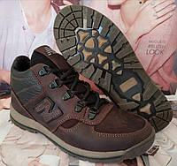 New Balance детские зимние ботинки кожа Кроссовки для подростков на меху шнурки сапоги коричневые Нью Баланс