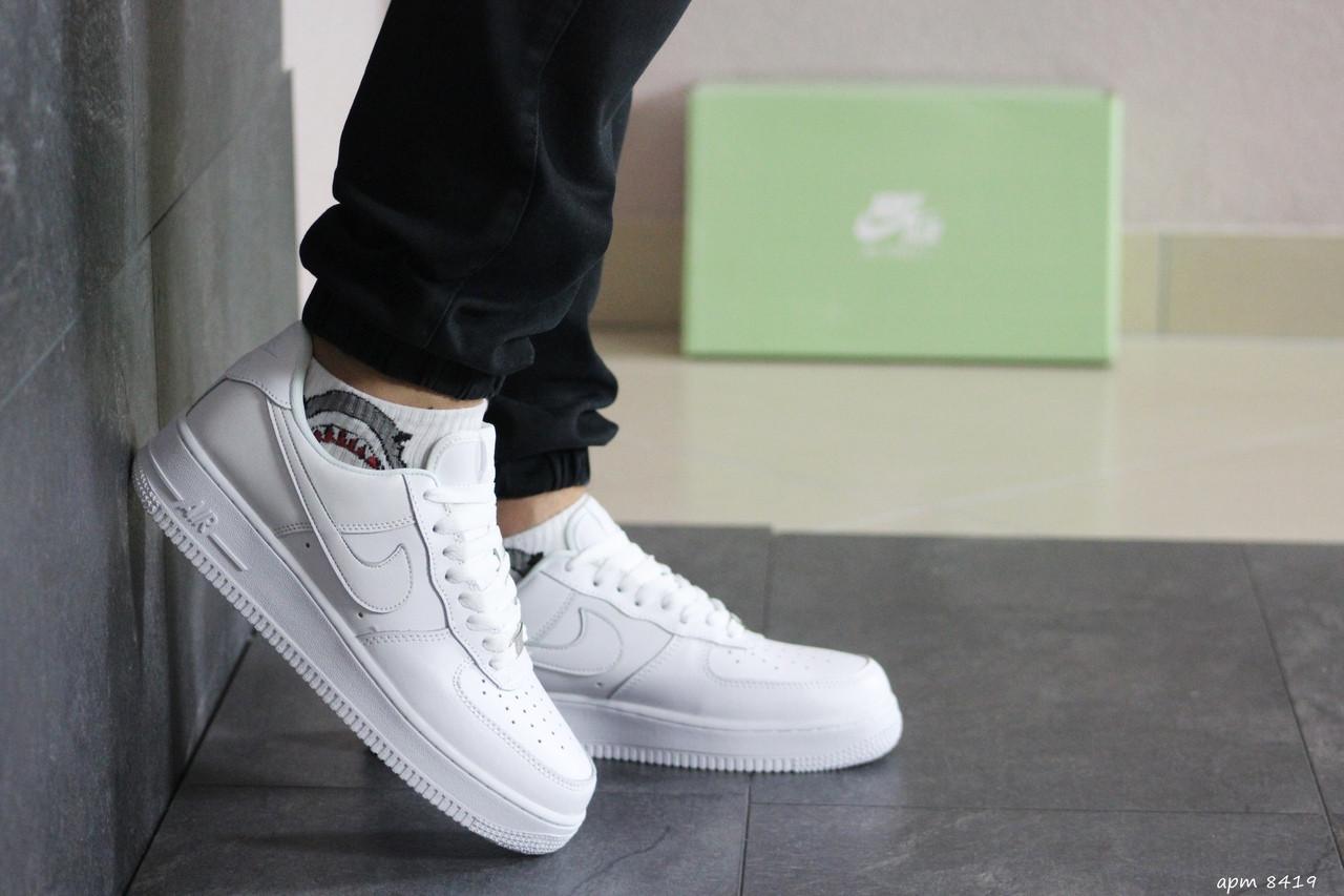 Белые мужские кроссовки прессованная кожа Force 8419