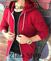 Мужское теплое худи  на флисе на молнии красное черное темно-синее серое S M L, фото 1