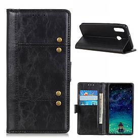 Чехол книжка для Huawei P Smart Z боковой с отсеком для визиток, Гладкая ретро кожа, черный