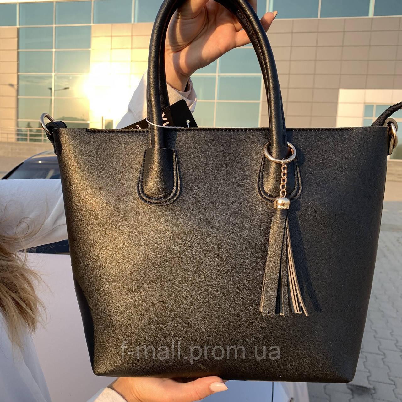 Женская сумка c косметичкой черная  (1006)