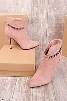 Женские осенние ботильоны розовые - пудра на шпильке 11 см эко-замша, фото 1