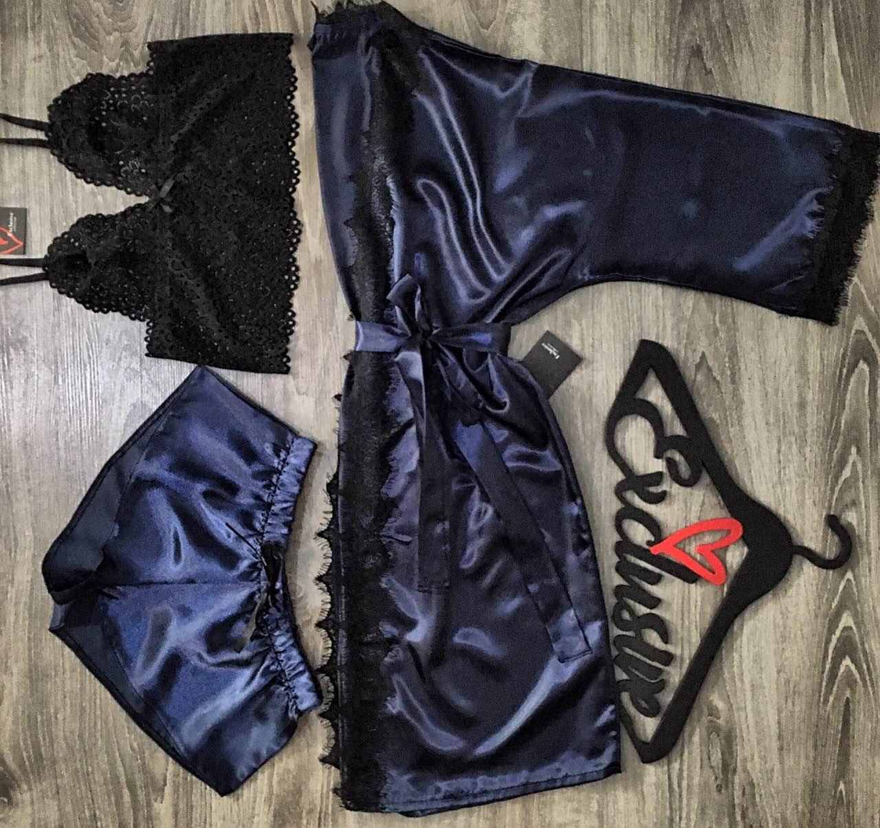 Женский комплект домашней одежды халат +топ+шорты.