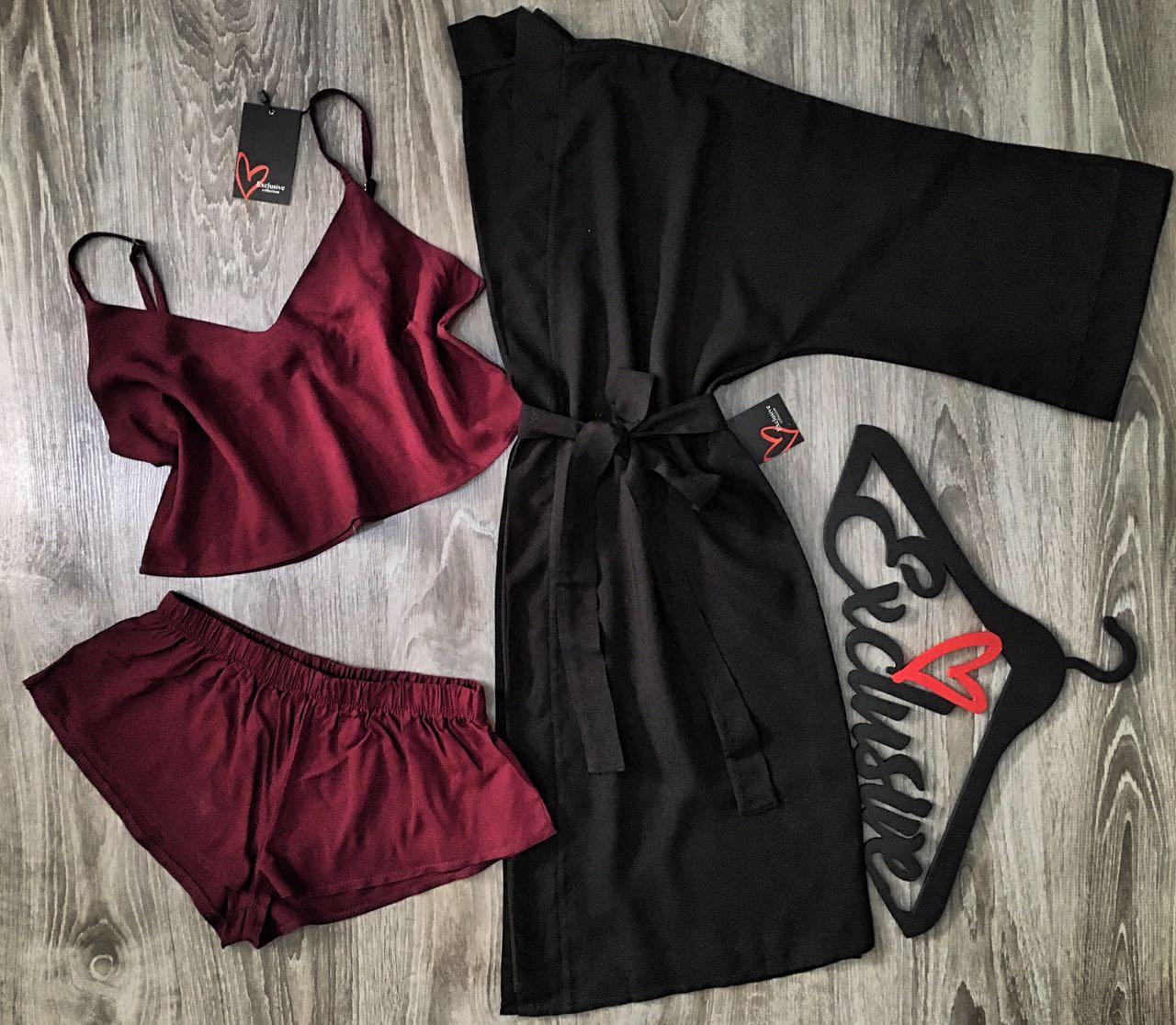 Женский набор домашней одежды халат+топ+шорты.