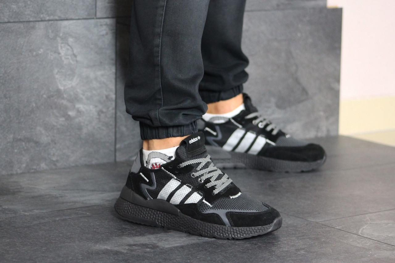 Мужские кроссовки черные эко замша 8426