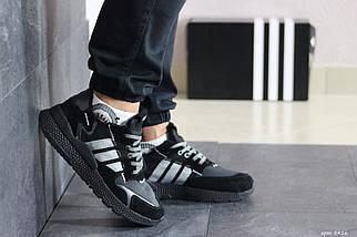 Мужские кроссовки черные эко замша 8426, фото 2