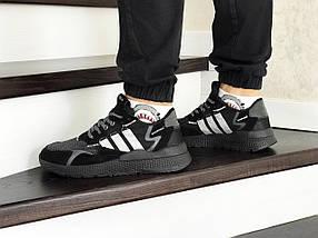 Мужские кроссовки черные эко замша 8426, фото 3