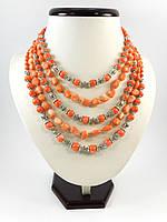 """Эксклюзивное ожерелье """"Ярина"""" 5 рядное, Изысканное ожерелье из натурального камня, красивые украшения"""