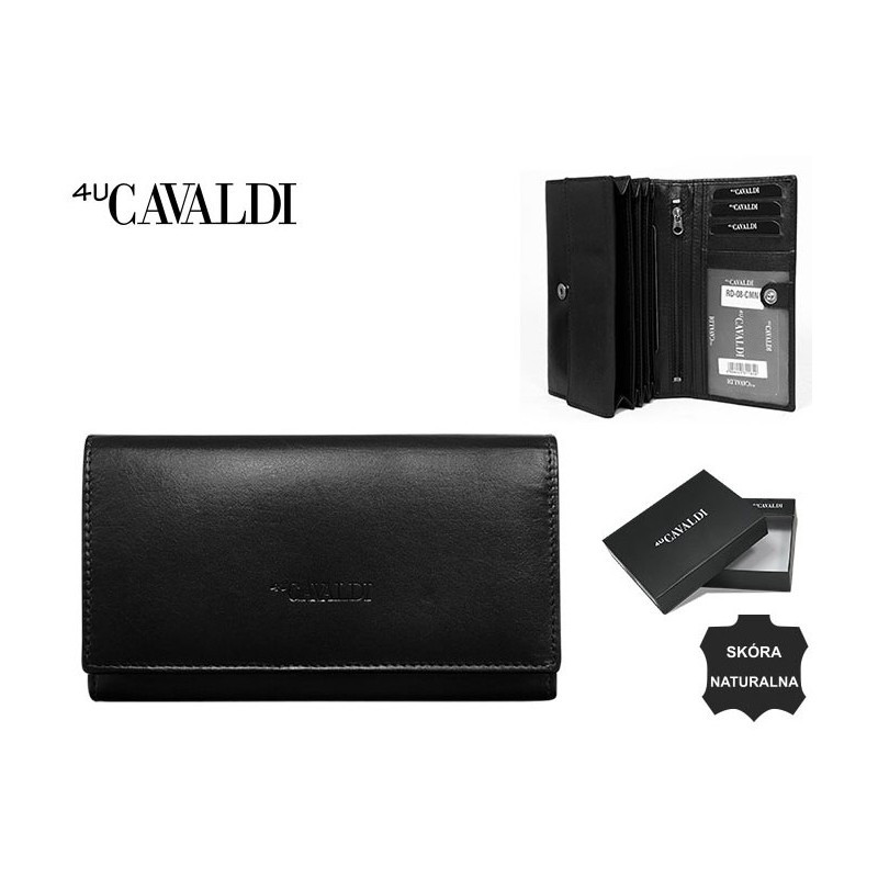 Оригинальный кошелек Cavaldi натуральная кожа NEW 2020 №295 Чёрный