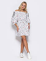 Модное платье play на резинке из хлопка S 42-44 белый принт s19APw14_pb