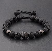 Мужской каменный браслет mod.Sfera черный, фото 1